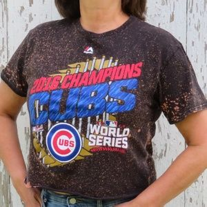 Cubs 2016 World Series Custom Bleach Crop Top sz M